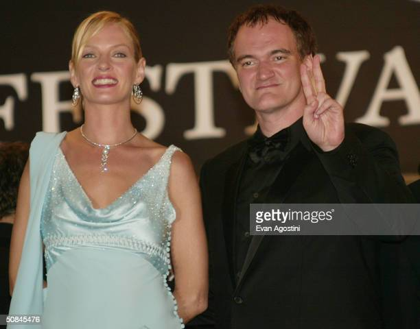 Actress Uma Thurman and Director Quentin Tarantino arrives at the premiere of Kill Bill II at the Palais des Festivals during the 57th Annual...