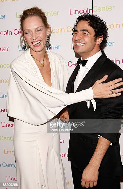 Actress Uma Thurman and Fashion Designer Zac Posen attend the 2008 Young Patrons of Lincoln Center Fall Masquerade Gala at the Rose Building on...