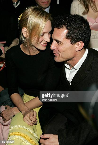 Actress Uma Thurman and hotelier Andre Balazs attend the Marc Jacobs Fall 2005 show during Olympus Fashion Week at The Armory February 7, 2005 in New...
