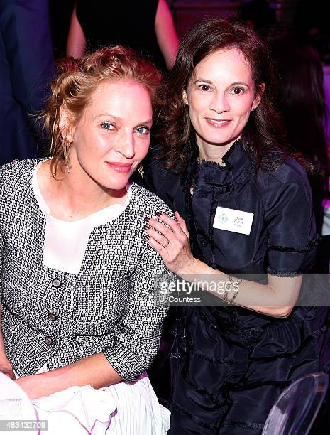Actress Uma Thurman and Julie Deborah Brown attend the 2014 Room To Grow Gala at Capitale on April 8 2014 in New York City