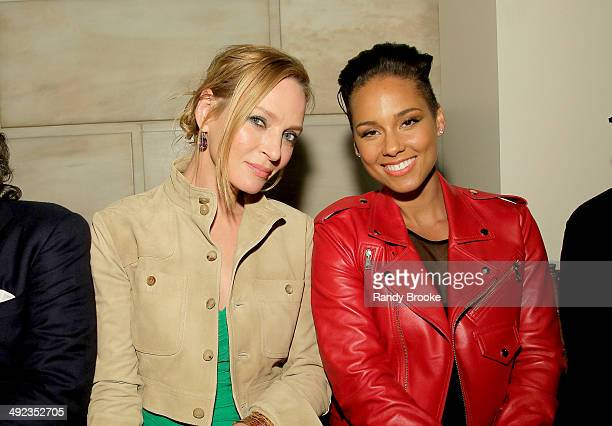 Actress Uma Thurman and recording artist Alicia Keys attend the Ralph Lauren Fall 14 Children's Fashion Show in Support of Literacy at New York...