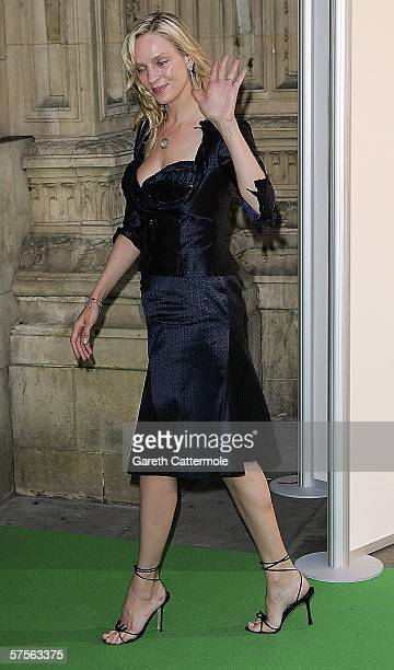 Actress Uma Thurman arrives arrives at the the 'Dream Auction Full Stop VIP Party' at the Albert Hall on May 9 2006 in London England