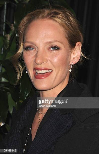 Actress Uma Thurman arrives at the Chanel Charles Finch PreOscar Dinner Celebrating Fashion Film at Madeo Restaurant on February 26 2011 in Los...