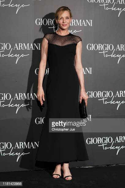 S actress Uma Thurman arrives at the Giorgio Armani 2020 Cruise Collection on May 24 2019 in Tokyo Japan