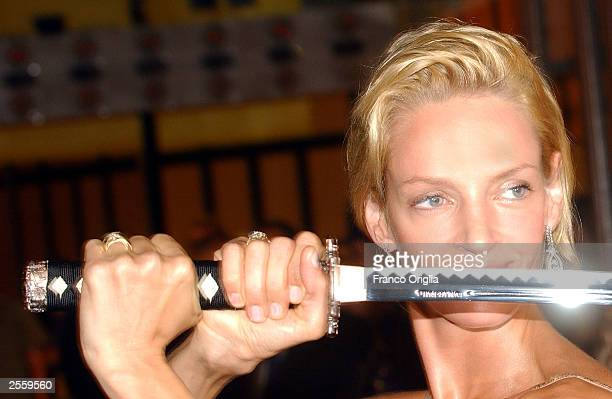 Actress Uma Thurman arrives at the screening of the Quentin Tarantino's film Kill Bill at the Adriano Cinema October 3 2003 in Rome Italy