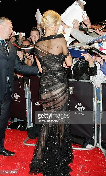 Actress Uma Thurman arrives at the Swarovski Fashion Rocks concert at the Royal Albert Hall on October 18 2007 in London England