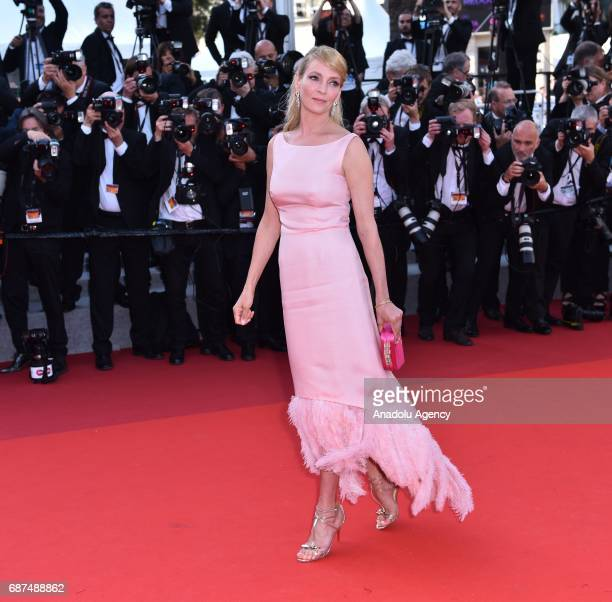 US actress Uma Thurman arrives for the 70th Anniversary Ceremony of Cannes Film Festival in Cannes France on May 23 2017