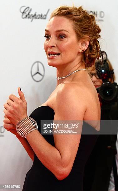 US actress Uma Thurman arrives for the Bambi awards on November 13 2014 in Berlin The Bambis are the main German media awards AFP PHOTO / JOHN...