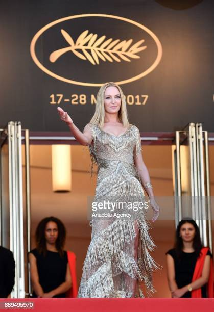 US actress Uma Thurman arrives for the Closing Awards Ceremony of the 70th annual Cannes Film Festival in Cannes France on May 28 2017