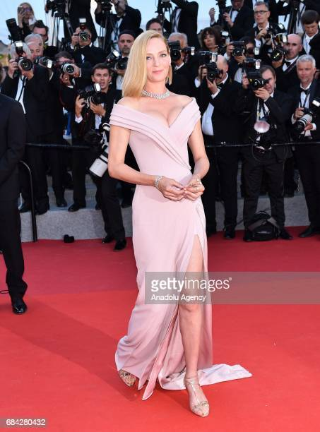 US actress Uma Thurman arrives for the screening of the film 'Les Fantomes dIsmael' out of competition and the Opening Ceremony of the 70th annual...