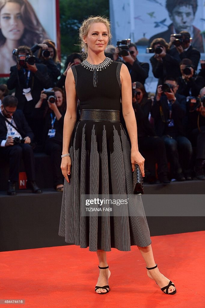 US actress Uma Thurman arrives for the screening of the movie 'Nymphomaniac Volume II (long version) director's cut' presented out of competition at the 71st Venice Film Festival on September 1st, 2014 at Venice Lido.