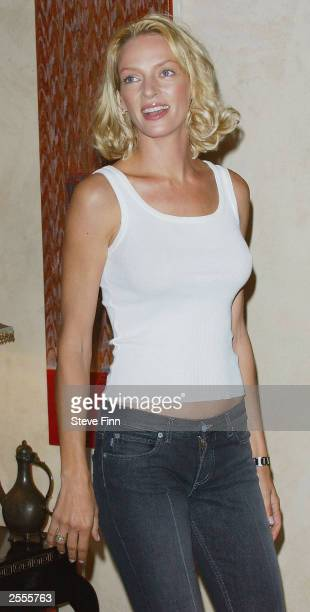 Actress Uma Thurman attends a photocall to promote 'Kill Bill Volume 1' at the Dorchester Hotel on Park Lane on October 2 2003 in London
