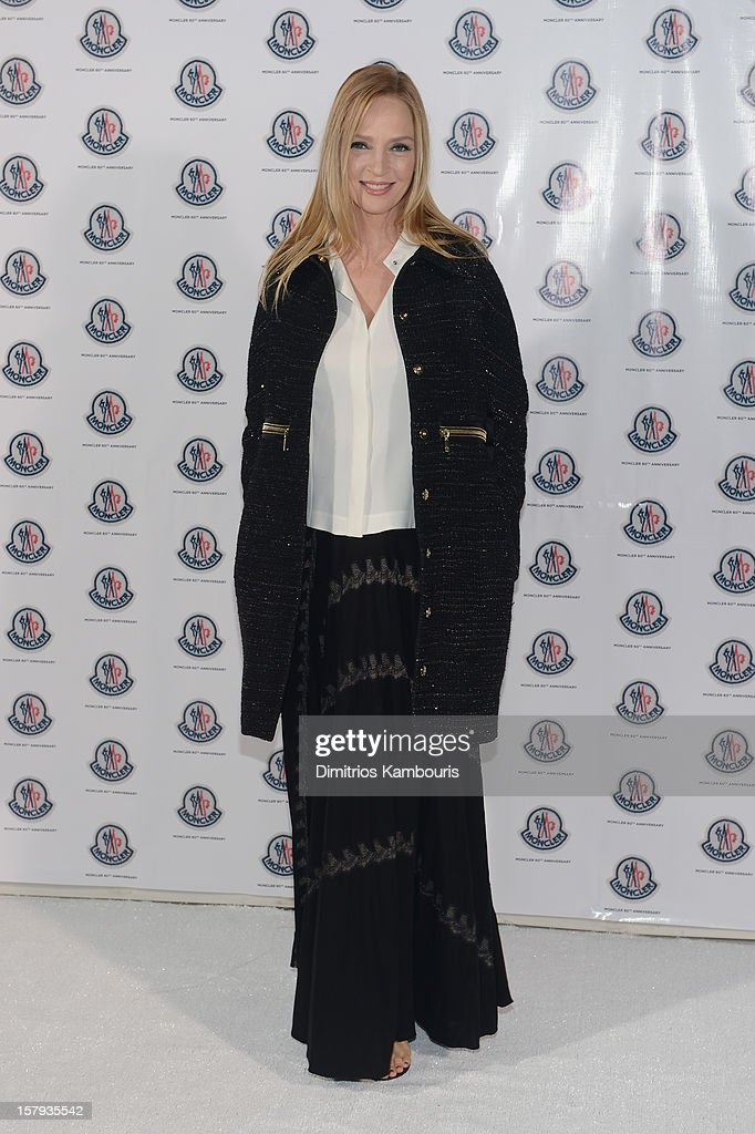 Actress Uma Thurman attends a private dinner celebrating Remo Ruffini and Moncler's 60th Anniversary during Art Basel Miami Beach on December 7, 2012 in Miami Beach, Florida.