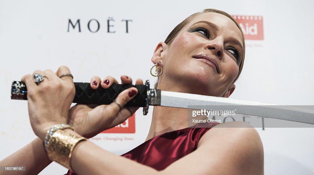 Actress Uma Thurman attends at the Moet & Chandon and FilmAid Asia Power of Film Gala at Clear Water Bay Film Studios on March 16, 2013 in Hong Kong, Hong Kong.