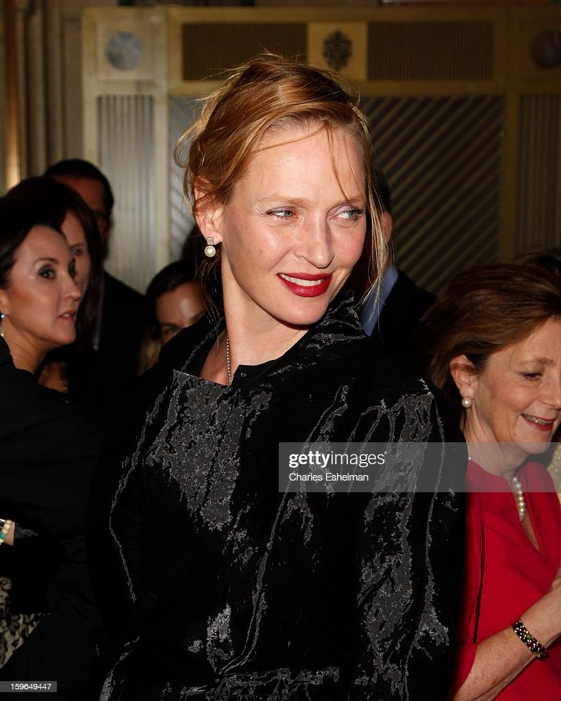 Actress Uma Thurman attends the 2013 National Audubon Society Gala Dinner on January 17, 2013 at The Plaza Hotel in New York, City.