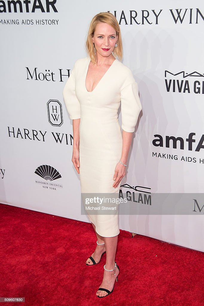 Actress Uma Thurman attends the 2016 amfAR New York Gala at Cipriani Wall Street on February 10, 2016 in New York City.