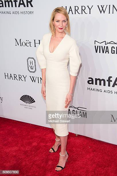 Actress Uma Thurman attends the 2016 amfAR New York Gala at Cipriani Wall Street on February 10 2016 in New York City