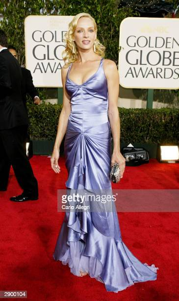 Actress Uma Thurman attends the 61st Annual Golden Globe Awards at the Beverly Hilton Hotel on January 25 2004 in Beverly Hills California