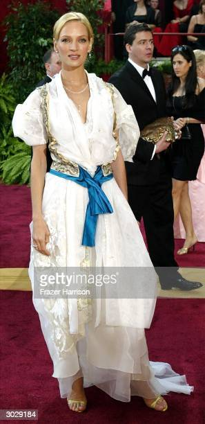 Actress Uma Thurman attends the 76th Annual Academy Awards at the Kodak Theater on February 29 2004 in Hollywood California