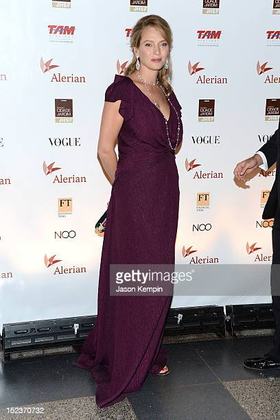 Actress Uma Thurman attends the Annual Brazil Foundation Gala Party at the American Museum of Natural History on September 19 2012 in New York City