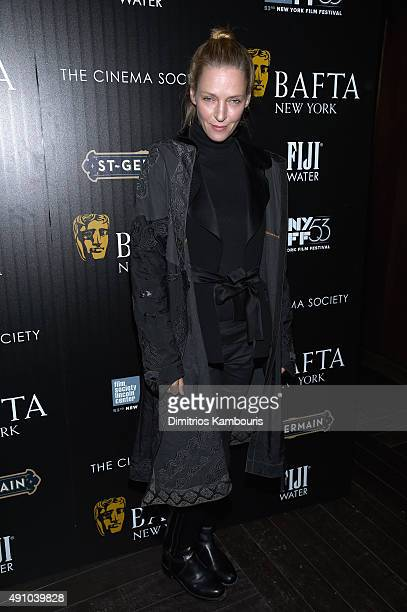 Actress Uma Thurman attends the BAFTA New York The Cinema Society With FIJI Water StGermain party for the New York Film Festival at PHD Terrace at...
