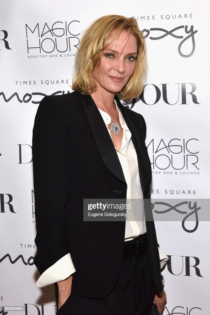 Actress Uma Thurman attends the celebration of DuJour's fall cover star Uma Thurman at The Magic Hour at Moxy Times Square on September 25, 2017 in New York City.