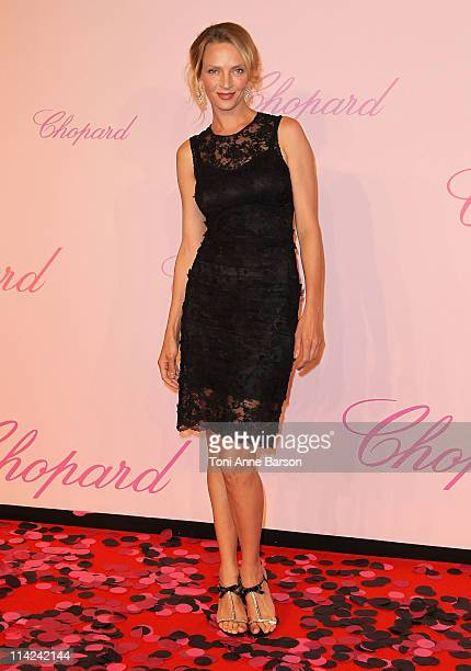 """Actress Uma Thurman attends the Chopard """"Happy Diamonds Are A Girl's Best Friend"""" Party during the 64th Annual Cannes Film Festival at the Martinez..."""