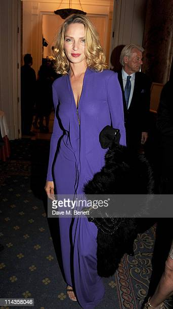 Actress Uma Thurman attends the Cinema For Peace inaugural Cannes dinner honoring Sean Penn for his charity work in Haiti and benefiting his J/P...