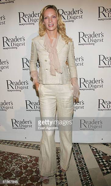 Actress Uma Thurman attends the first annual Reader's Digest 'Caring Companies' luncheon at Cipriani's 42nd Street September 28 2004 in New York City