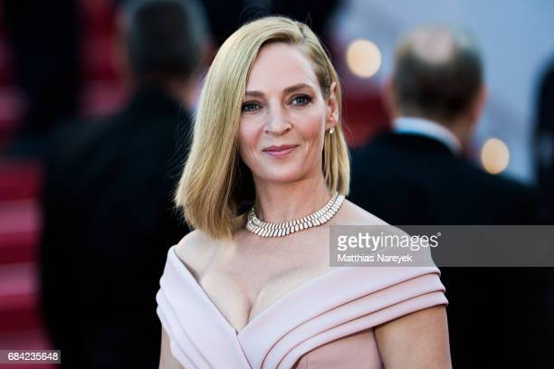 Actress Uma Thurman attends the Ismael's Ghosts screening and Opening Gala during the 70th annual Cannes Film Festival at Palais des Festivals on May...