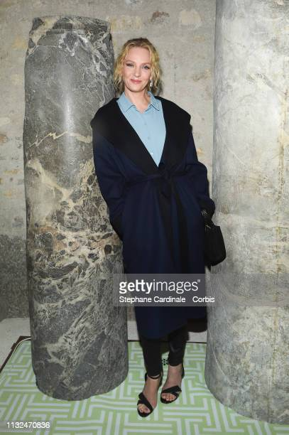 Actress Uma Thurman attends the Lanvin show as part of the Paris Fashion Week Womenswear Fall/Winter 2019/2020 on February 27 2019 in Paris France