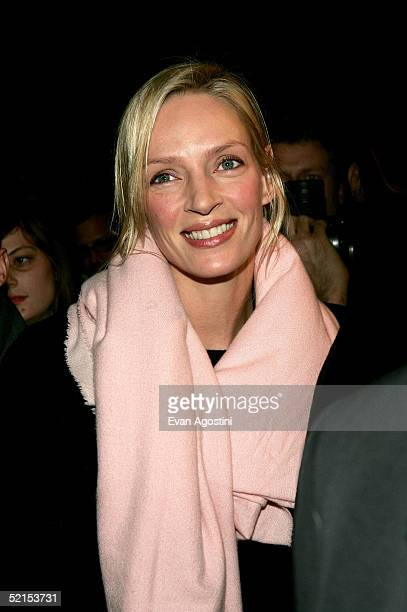 Actress Uma Thurman attends the Marc Jacobs Fall 2005 show during Olympus Fashion Week at The Armory February 7, 2005 in New York City.