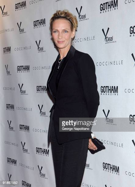 Actress Uma Thurman attends the Motherhood premiere hosted by Gotham magazine at the SVA Theater on October 14 2009 in New York City