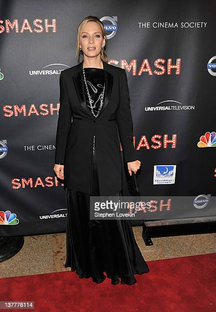 """Actress Uma Thurman attends the NBC Entertainment & Cinema Society with Volvo premiere of """"Smash"""" at the Metropolitan Museum of Art on January 26,..."""