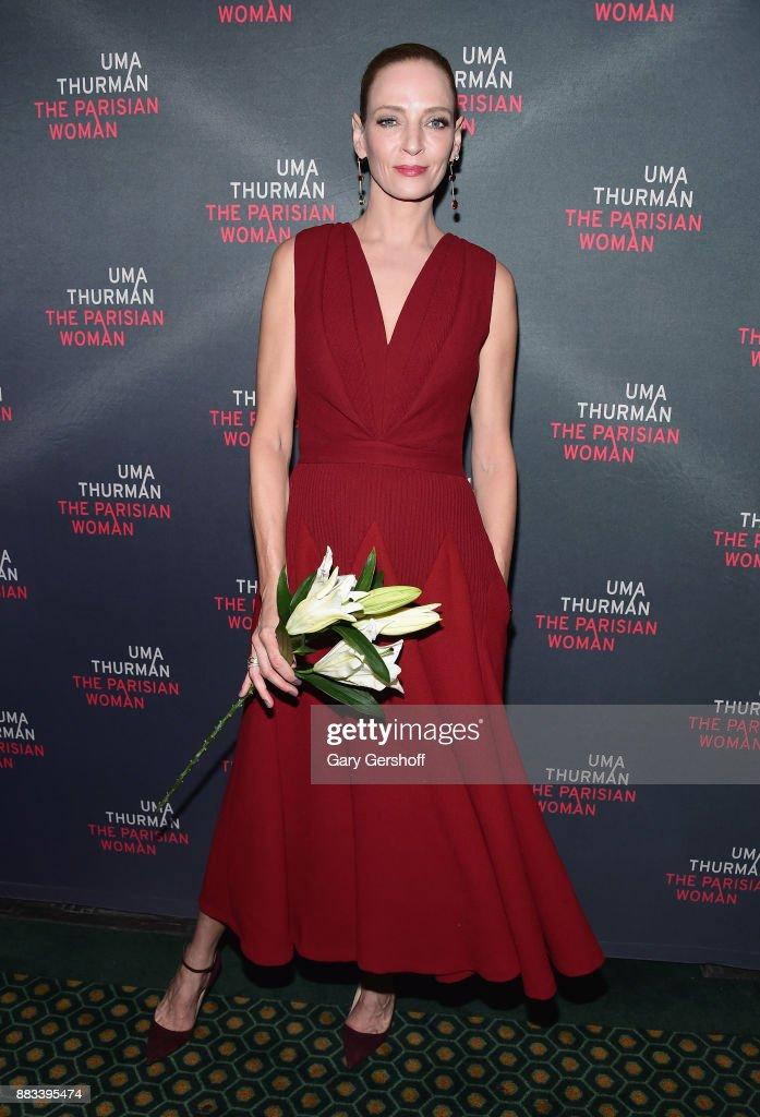 Actress Uma Thurman attends 'The Parisian Woman' Broadway opening night at Hudson Theatre on November 30, 2017 in New York City.