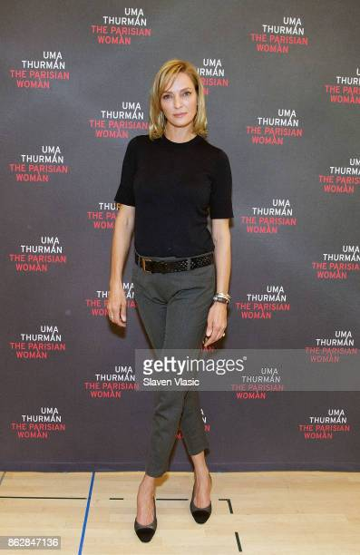 Actress Uma Thurman attends The Parisian Woman Press Meet Greet at The New 42nd Street Studios on October 18 2017 in New York City
