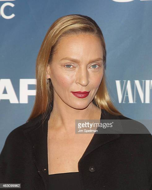 "Actress Uma Thurman attends ""The Slap"" premiere party at The New Museum on February 9, 2015 in New York City."