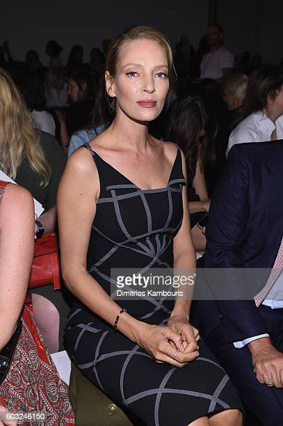 Actress Uma Thurman attends the Zac Posen fashion show during New York Fashion Week September 2016 at Spring Studios on September 12 2016 in New York...