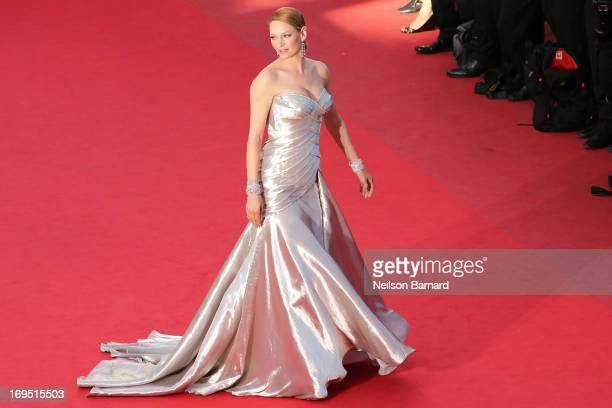 Actress Uma Thurman attends the 'Zulu' Premiere and Closing Ceremony during the 66th Annual Cannes Film Festival at the Palais des Festivals on May...