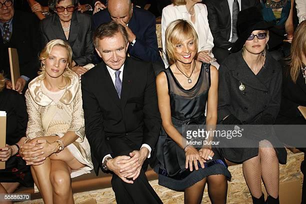 Actress Uma Thurman Bernard Arnault CEO and President of Dior's parent group LVMH his wife pianist Helene Mercier Arnault and actress Sharon Stone...