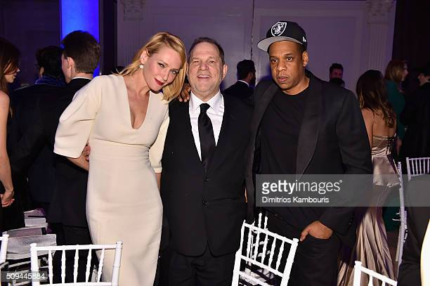 Actress Uma Thurman Harvey Weinstein and Jay Z attend the 2016 amfAR New York Gala at Cipriani Wall Street on February 10 2016 in New York City