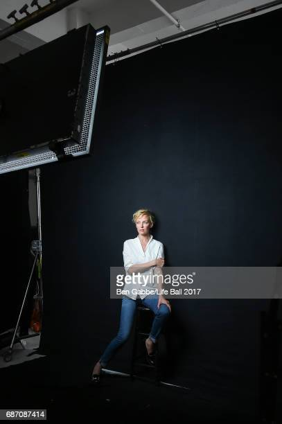 Actress Uma Thurman is seen during a shooting with photographer Peter Lindbergh for the LIFE campaign 'Know Your Status' on April 19 2017 in New York...
