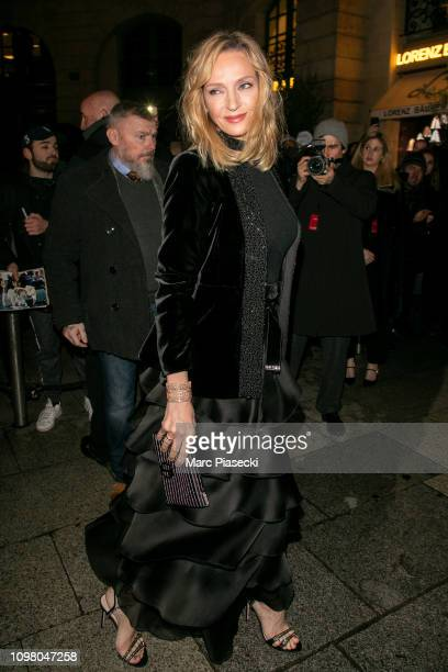 Actress Uma Thurman is seen on Place Vendome on January 22, 2019 in Paris, France.