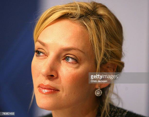 Actress Uma Thurman looks on during a press conference for tonight's Nobel Peace Prize Concert at the Radisson Plaza Hotel on December 11 2007 in...