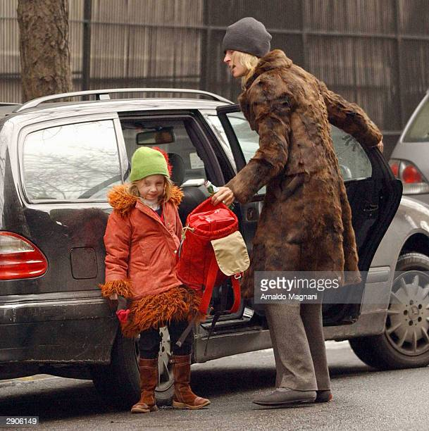Actress Uma Thurman picks up her daughter Maya from school January 27 2004 on the Upper East Side in New York City