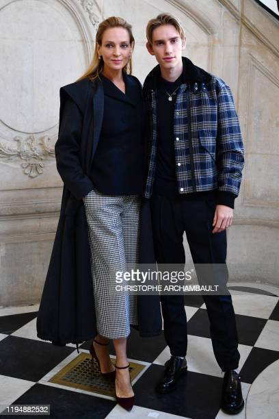 US actress Uma Thurman poses with his son Levon Roan ThurmanHawke during the photocall ahead of the Dior Women's SpringSummer 2020/2021 Haute Couture...