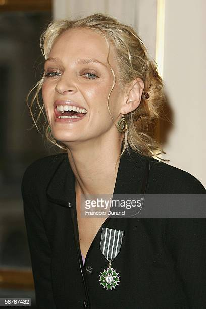 Actress Uma Thurman receives the Chevalier dans lordre des Arts award and letters of decoration at the Ministry of Culture on February 7 2006 in...