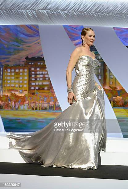 Actress Uma Thurman speaks on stage at the Closing Ceremony during the 66th Annual Cannes Film Festival at the Palais des Festivals on May 26, 2013...