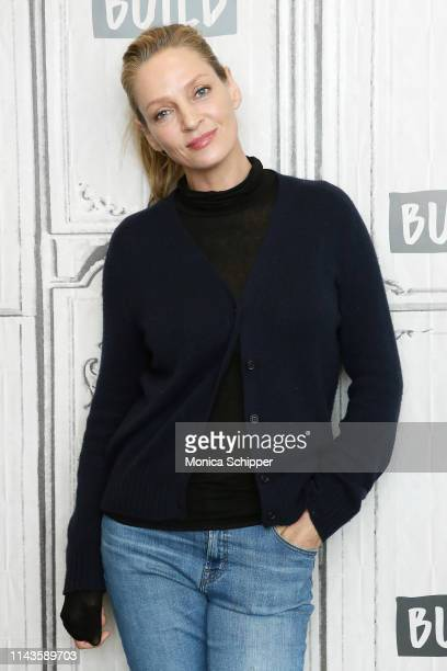 """Actress Uma Thurman visits Build Studio to discuss the new Netflix television series """"Chambers"""", on April 18, 2019 in New York City."""