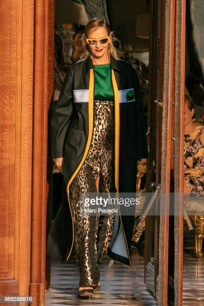 Actress Uma Thurman walks the runway during Miu Miu 2019 Cruise Collection Show at Hotel Regina on June 30 2018 in Paris France
